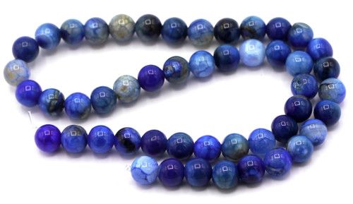 "15.5"" Strand Approx 8mm Agate Round Beads, Denim Crackle"