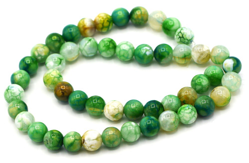 "15.5"" Strand Approx 8mm Agate Round Beads, Lime Crackle"