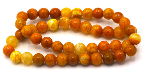 "15.5"" Strand Approx 8mm Agate Round Beads, Mango Crackle"