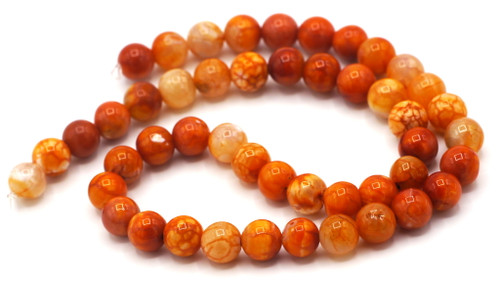 "15.5"" Strand Approx 8mm Agate Round Beads, Rust Crackle"