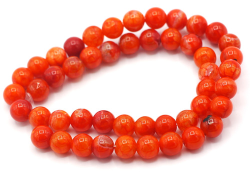"15.5"" Strand Approx 8mm Agate Round Beads, Scarlet Crackle"