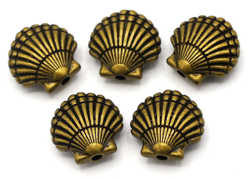 5pc 14mm Seashell Beads, Antique Bronze