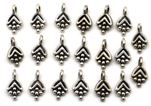 20pc 10mm Floral Dotted Drop, Antique Silver