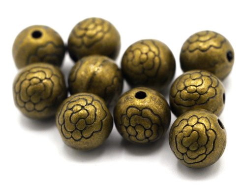 10pc 8mm Floral Round Spacer Beads, Antique Bronze