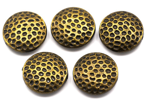 5pc 17mm Hammered-Style Puffed Coin Beads, Antique Bronze