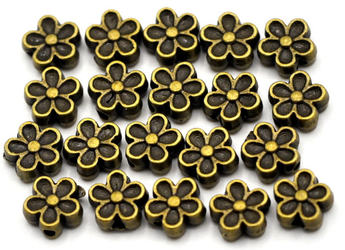 20pc 7mm Flower Spacer Beads, Antique Bronze