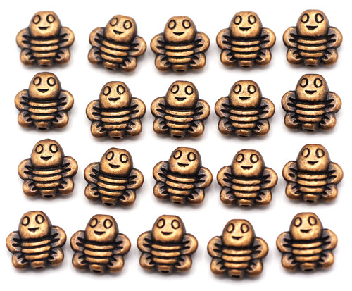 20pc 9mm Bee Beads, Antique Copper Finish