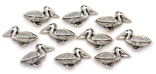 10pc 9x20mm Pelican Beads, Antique Silver