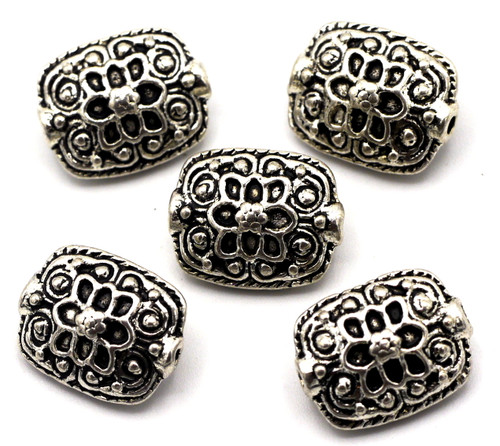 5pc 13x10.5mm Ornate Rectangle Beads, Antique Silver
