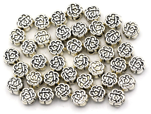 40pc 5.5mm Flower Spacer Bead, Antique Silver