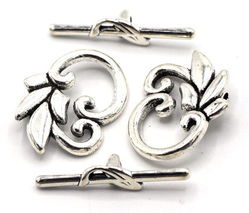 2 Sets 24x29mm Leaf Toggle Clasps, Antique Silver
