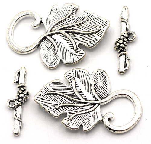 2 Sets 37x22mm Leaf Toggle Clasps, Antique Silver