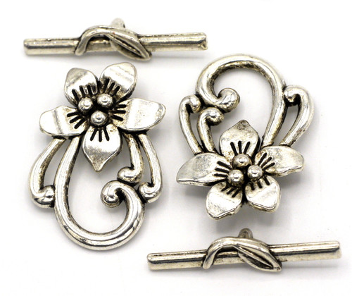 2 Sets 30x22mm Floral Toggle Clasps, Antique Silver