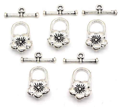 5 Sets 22mm Flower Clasps, Antique Silver