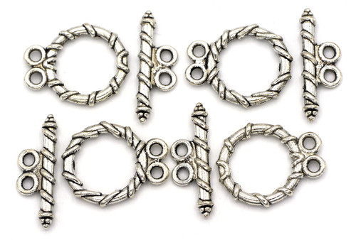 4 Sets 18x20mm Double-strand Toggle Clasp, Antique Silver