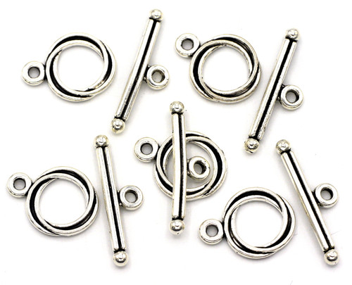5 Sets 17x24mm Twisted Toggle Clasp, Antique Silver