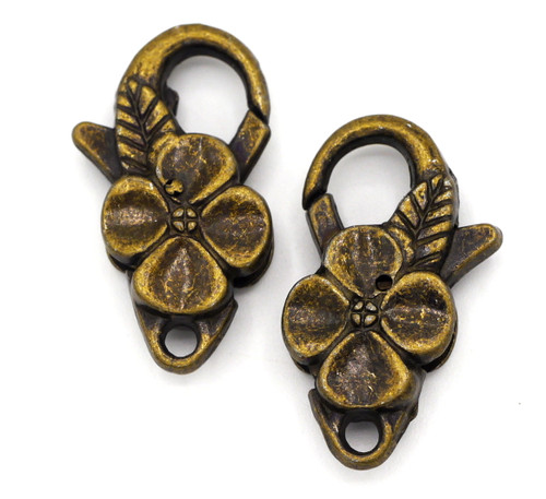 2pc 25x14mm Floral Lobster Claw Clasps, Antique Bronze