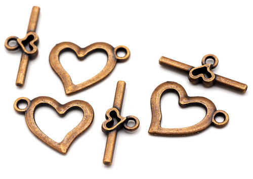3 Sets 19x22mm Heart Toggle Clasps, Antique Copper
