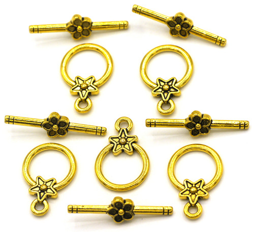 5 Sets 20x26mm Floral Toggle Clasps, Antique Gold