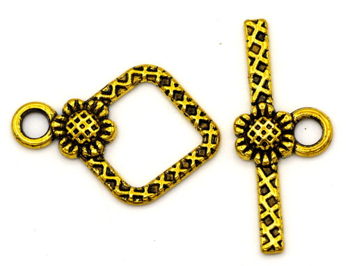 1 Set 21x24mm Textured Daisy Toggle Clasp, Antique Gold