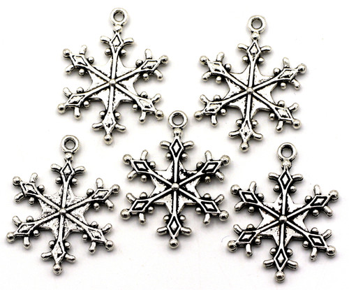 5pc 28x22mm Snowflake Charms, Antique Silver