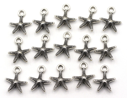 15pc 15.5x13mm Starfish Charms, Antique Silver