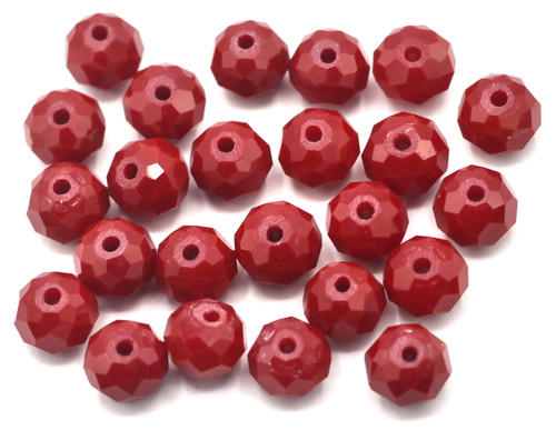 24pc 8x6mm Crystal Rondelle Beads, Opaque Red