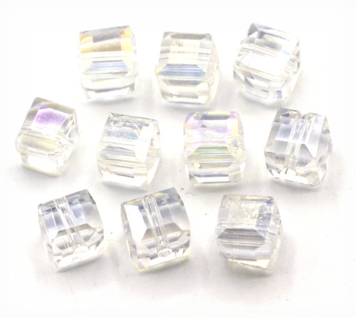 10pc 8mm Crystal Cube Beads, Crystal AB