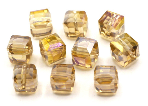 10pc 8mm Crystal Cube Beads, Pale Topaz AB