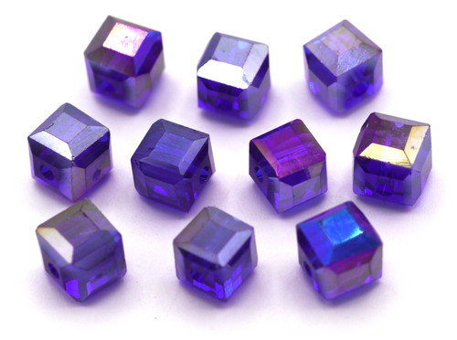 10pc 8mm Crystal Cube Beads, Sapphire AB