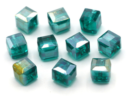 10pc 8mm Crystal Cube Beads, Teal AB
