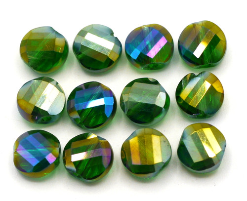 12pc 8mm Crystal Spiral-Faceted Coin Beads, Green AB