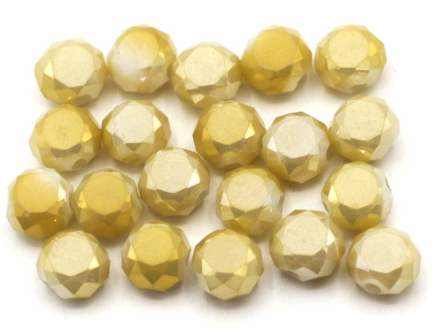 20pc 6x5mm Crystal Faceted Coin Beads, Opaque Champagne AB