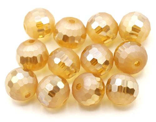 12pc 10mm Crystal Half-Matte Faceted Round Beads, Peach Champagne