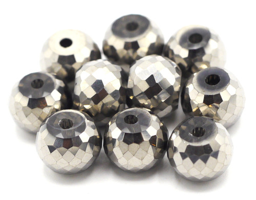 10pc 8x6mm Crystal Faceted Drum Beads, Metallic Silver