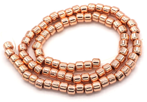 "15.7"" 6x5mm Synthetic Hematite Barrel Beads, Rose Gold Finish"