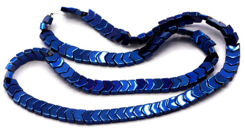 """15.7"""" 5x6x2mm Synthetic Hematite Chevron Beads, Blue Electroplate"""