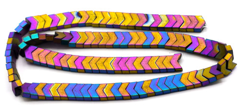 "15.7"" 8x5x3mm Synthetic Hematite Chevron Beads, Frosted Rainbow Electroplate"