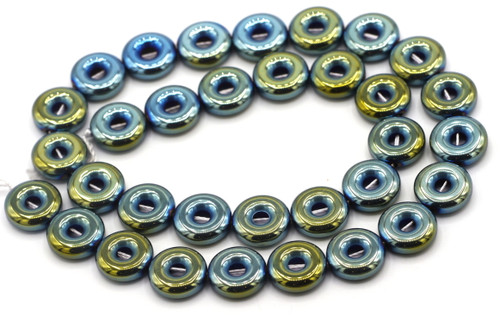 """15.7"""" 12mm Synthetic Hematite Donut Beads, Green Iris Electroplate"""