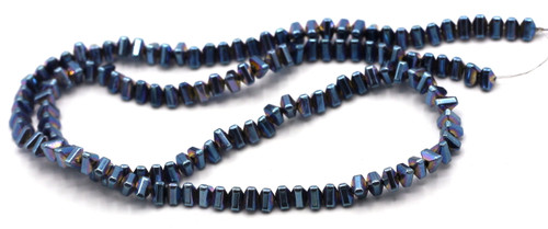 """15.7"""" 4.5x4x3mm Synthetic Hematite Triangle Beads, Light Blue Electroplate"""