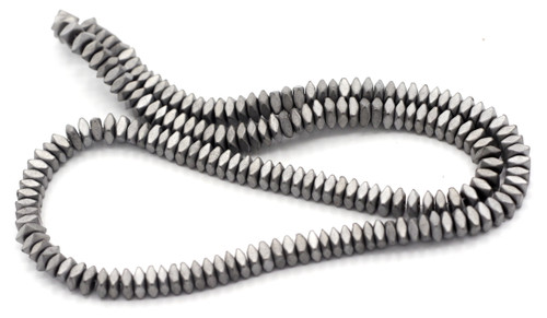 """15.7"""" 4.5x2mm Synthetic Hematite Faceted Squaredelle Beads, Frosted Silver Electroplate"""