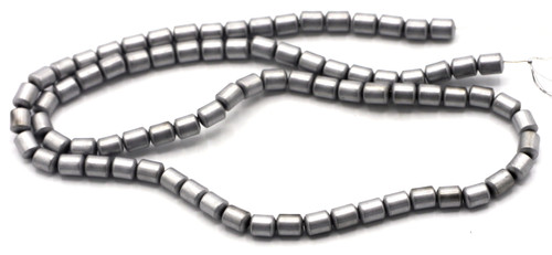 """15.7"""" 5x4mm Synthetic Hematite Cylinder Beads, Frosted Silver Electroplate"""