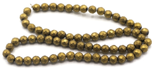 "15.7"" 6mm Synthetic Faceted Round Beads, Frosted Bronze Electroplate"
