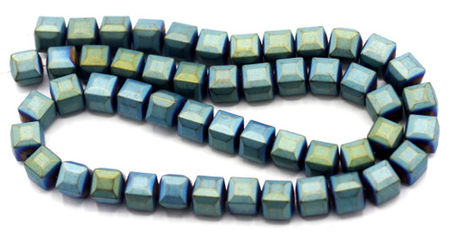 "15.7"" 8mm Synthetic Faceted Cube Beads, Frosted Green Electroplate"
