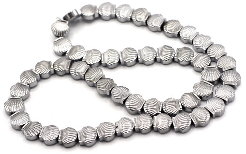 "15.7"" 8x9mm Synthetic Hematite Shell Beads, Silver Electroplate"