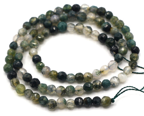 "15.5"" 4mm Faceted Round Moss Agate Beads"