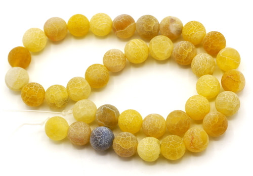 """15.5"""" 10mm Round Crackle Agate Beads, Harvest Gold"""