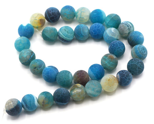 "15"" 12mm Round Crackle Agate Beads, Ocean Blues"