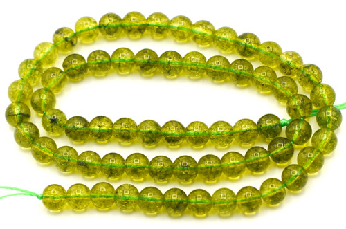 "15.5"" 6mm Crackle Quartz Round Beads, Peridot Green"