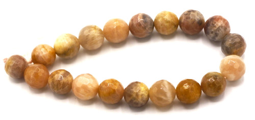 """7.4"""" 10mm Multi-Moonstone & Sunstone Faceted Round Beads"""